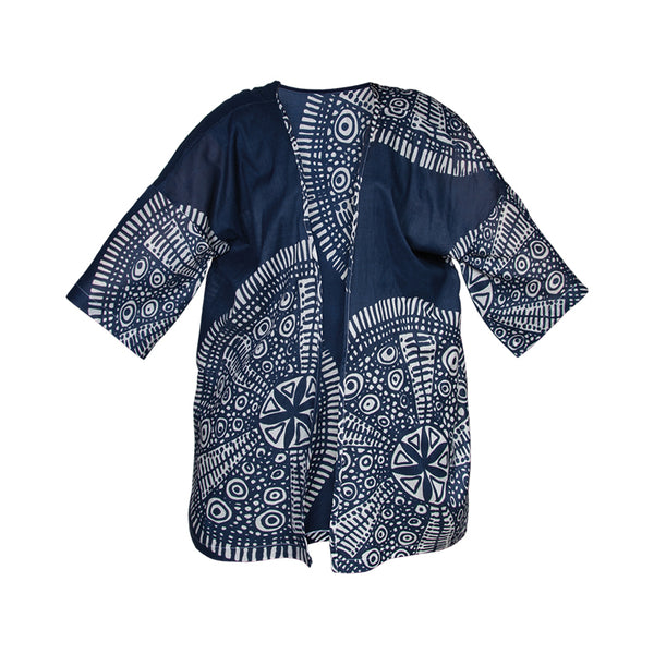 Cotton Beach Kimono Cover Up - Blue White Batik Pattern