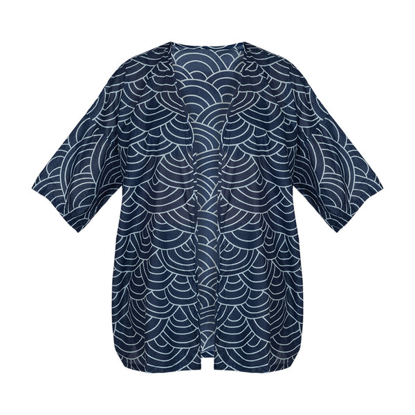 Cotton Beach Kimono Cover Up - Blue White WaVE Pattern