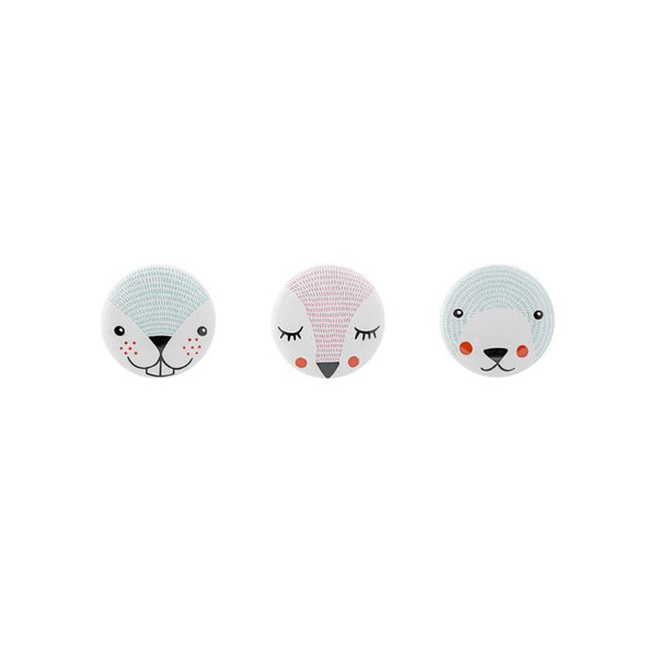 Bloomingville Ceramic Woodland Animals Knob Set of 3 Assorted