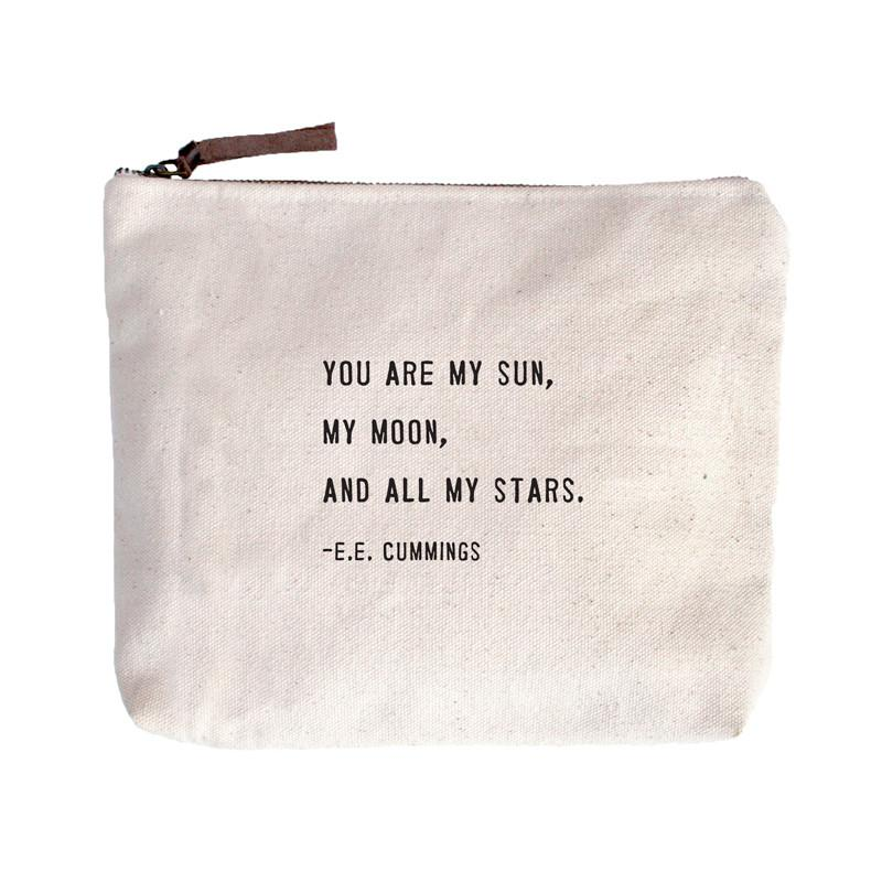 Canvas Zipper Bag - You Are My Sun, My Moon, And All My Stars (E.E. Cummings)