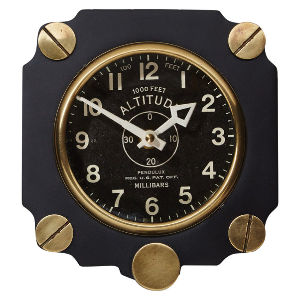 Altimeter Wall Clock - Black 7-1/2-in