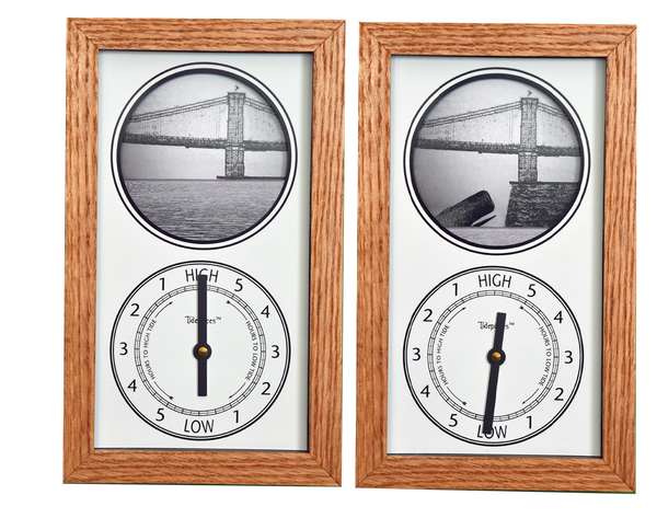 Tidepieces by Alan Winick | Brooklyn Bridge Tide Clock | Solid Oak Frame