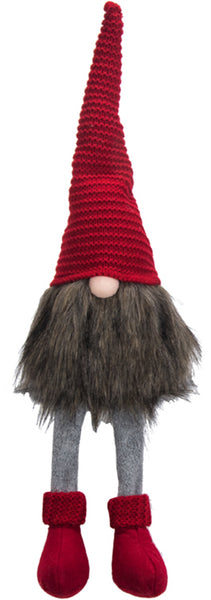 Fabric and Faux Fur Gnome Shelf Sitter with Red Knit Hat