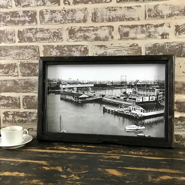 Stratford Avenue Municipal Wharf Bridgeport Connecticut 1941 - Reproduction Photo in Framed Shadowbox 20-in