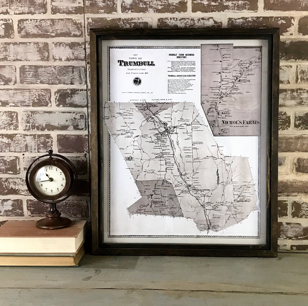 Vintage Trumbull Connecticut Map 1867 Framed Dark Brown Shadowbox 25-1/2-in