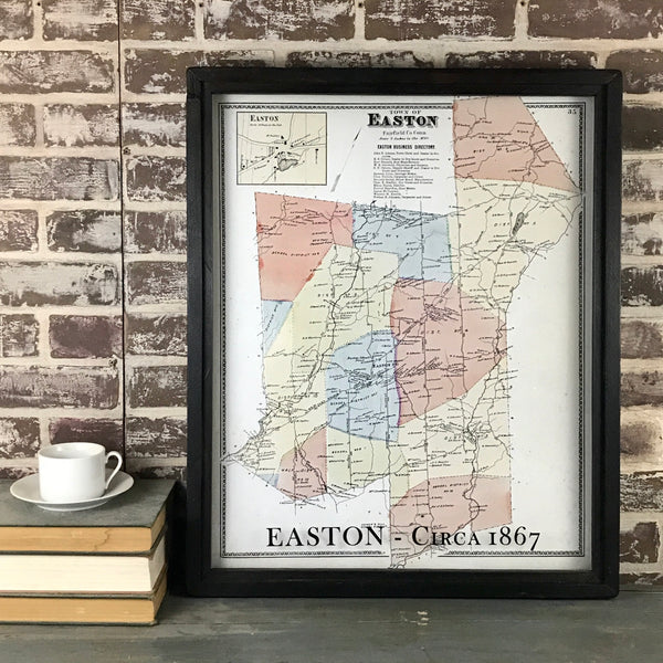 Easton Connecticut Map Circa 1867 Framed White Wash Shadowbox - 25-1/2-in