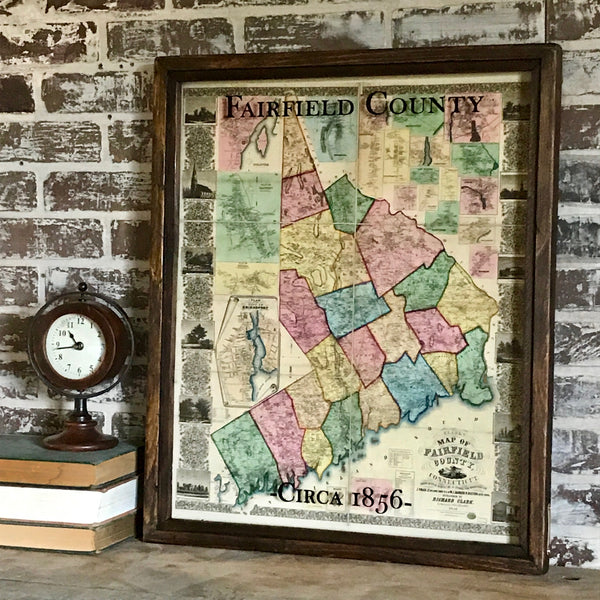 Vintage Fairfield County Map Circa 1856 Framed Shadowbox 25-1/2-in