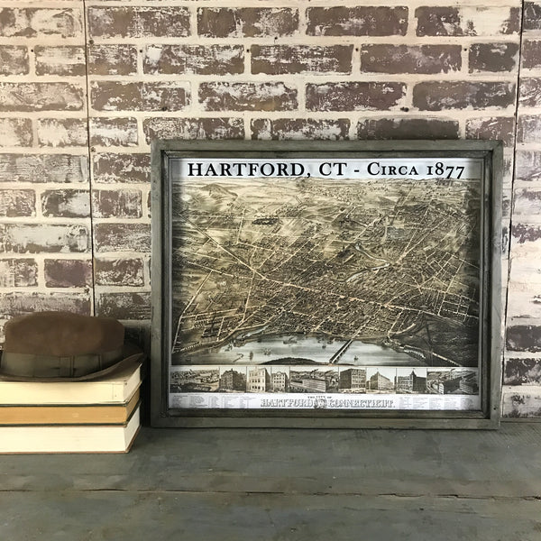 Hartford Connecticut Vintage Map Circa 1877 Framed Gray/Brown Shadowbox
