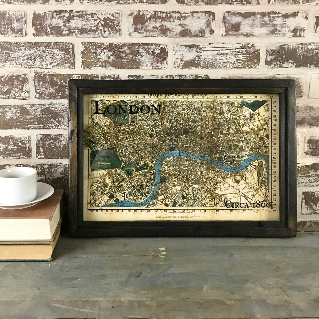 Vintage Map of London Circa 1860 Framed Shadowbox 19-in