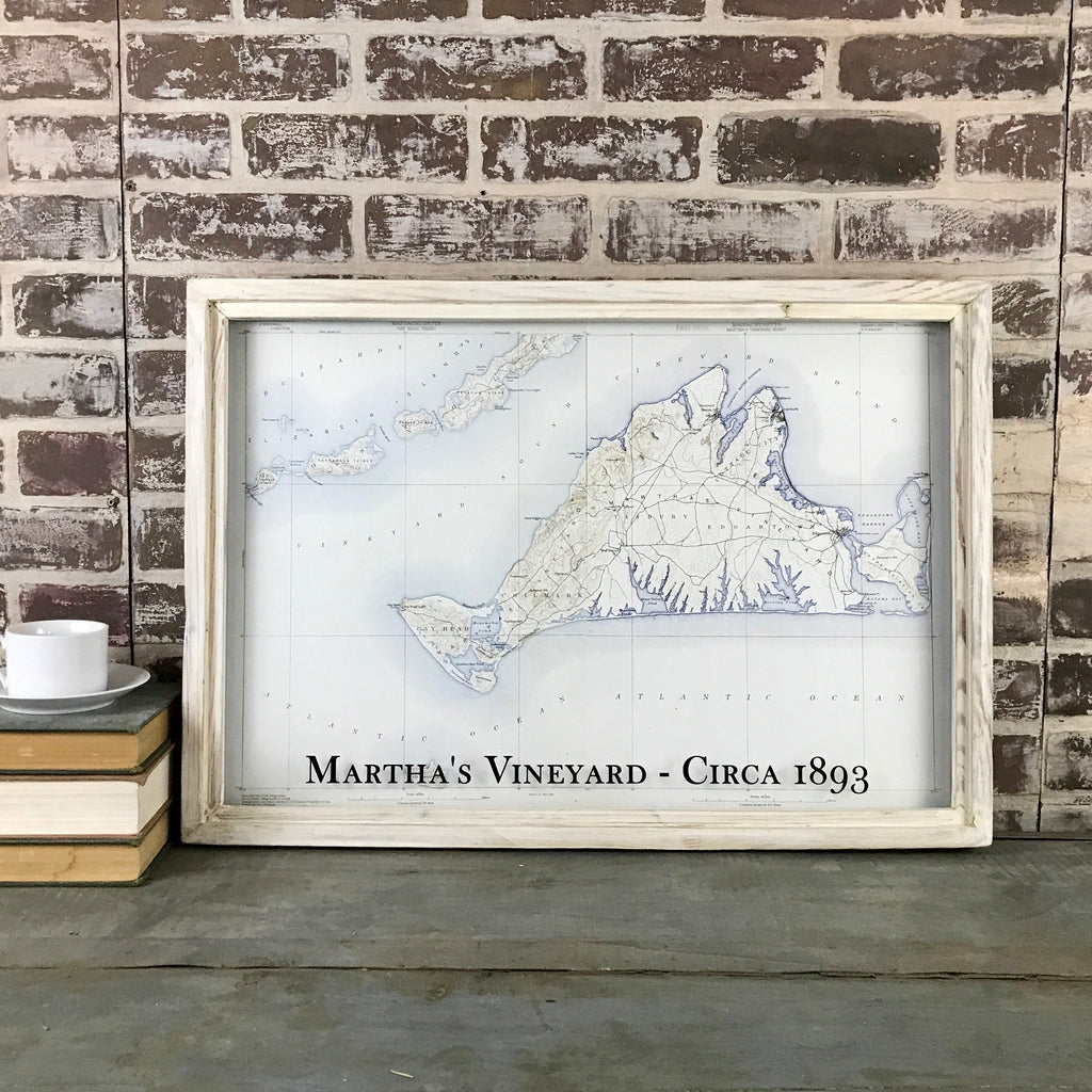 Martha's Vineyard Massachusetts Map Circa 1893 Framed White Wash Shadowbox - 26-in