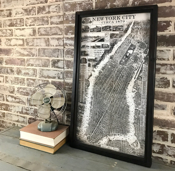 New York City Map Circa 1879 Framed Shadowbox 29-1/2-in
