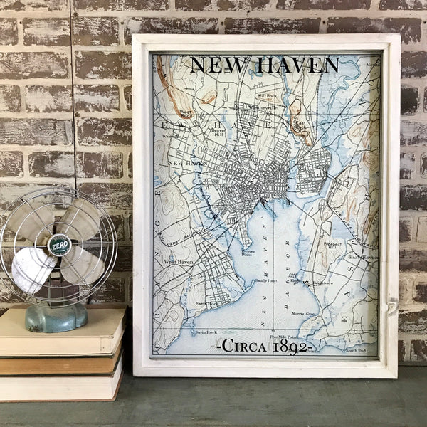 New Haven Connecticut Vintage Map Circa 1892 Framed Antique Whitewash Shadowbox