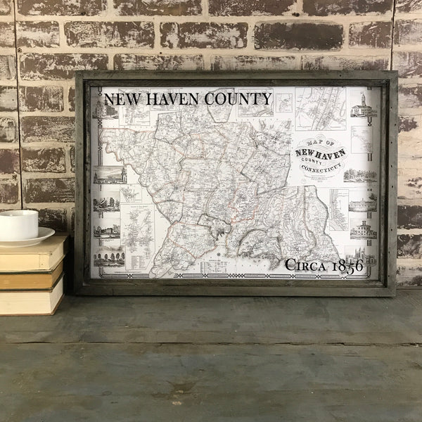 New Haven County Connecticut Vintage Map Circa 1856 Framed Gray/Brown Shadowbox