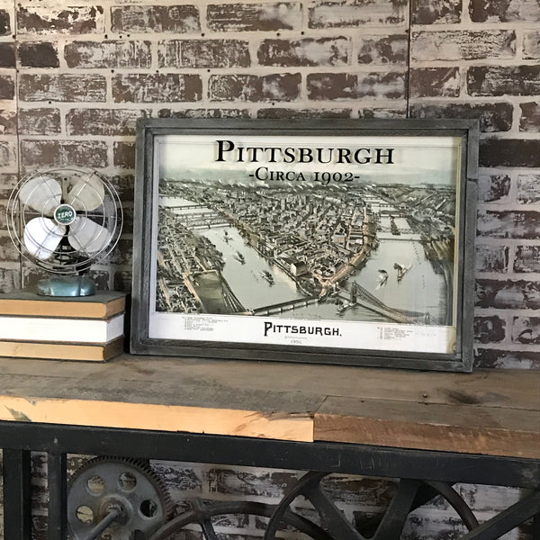 Vintage Pittsburgh Map Framed Shadowbox 26-in
