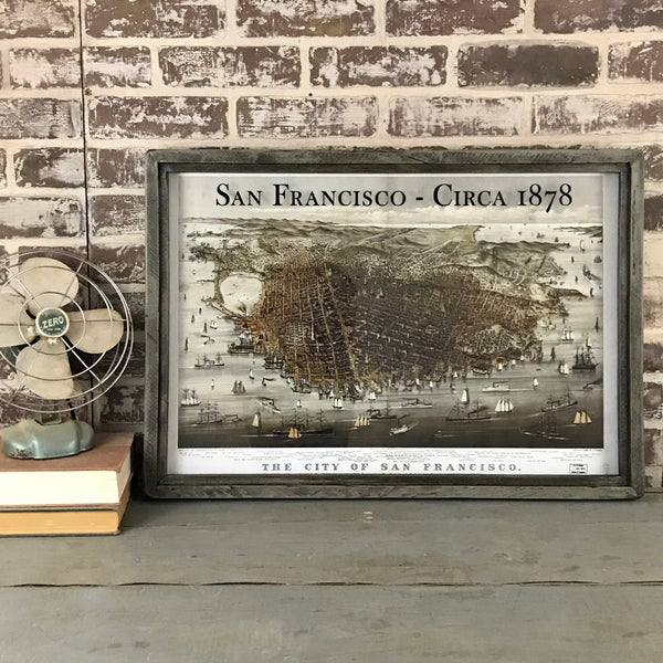 San Francisco Map Circa 1878 Framed Shadowbox 26-1/2-in