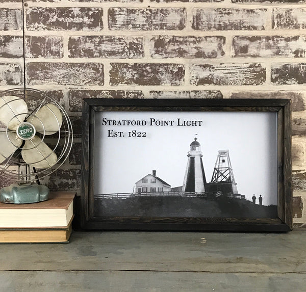 Vintage Stratford Point Light Reproduction Photo in Framed Shadowbox Circa 1822 -  20-in