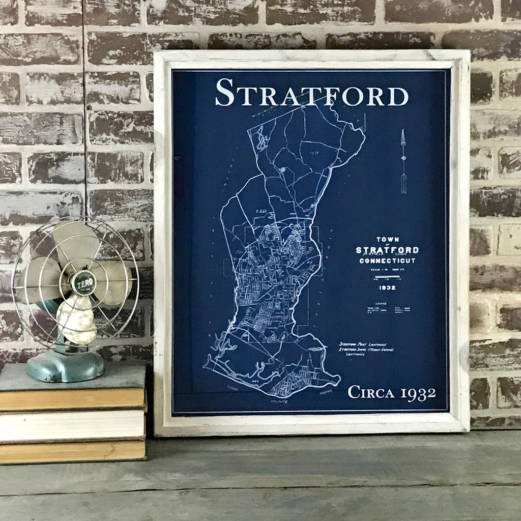 Stratford Connecticut Blue Print Style Vintage Map Circa 1932 Framed White Wash Shadowbox - 25-in