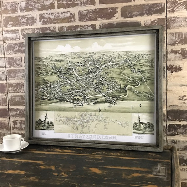 Stratford Connecticut Vintage Map Circa 1882 - Reproduction in Framed Shadowbox 25-1/2-in