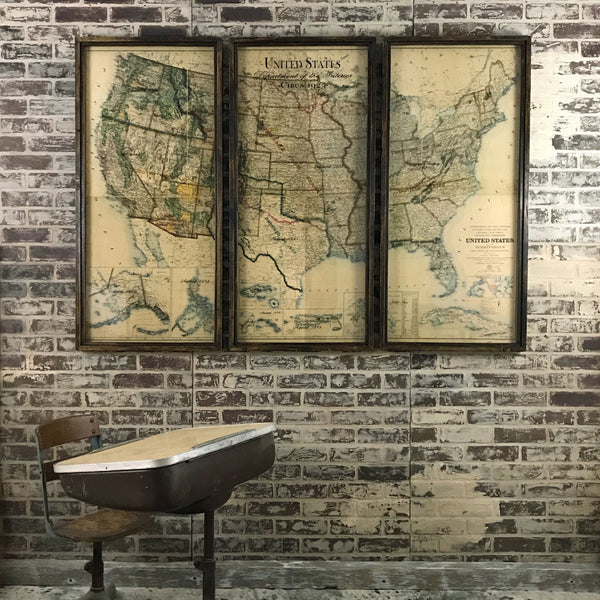Three Piece Vintage Dept. of the Interior USA Map - 65-in
