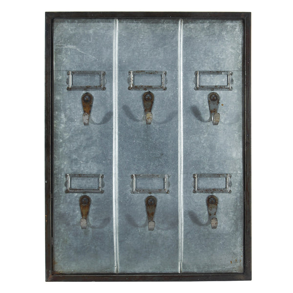 Vintage Inspired Metal Hotel Key Hook Board Rack - 6 Hooks