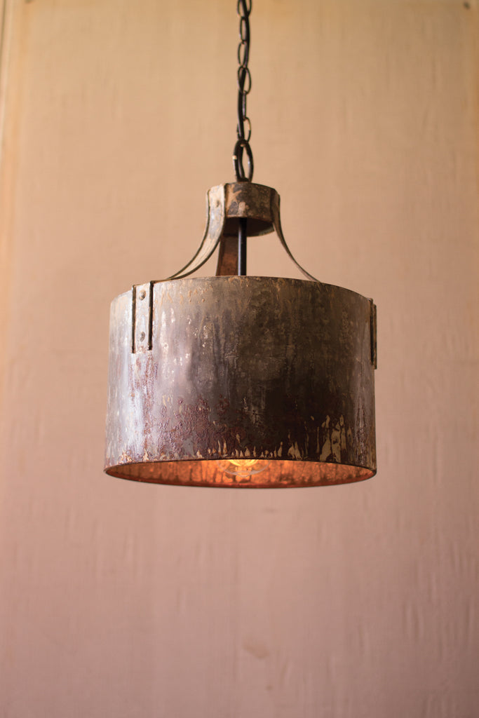 Rustic Metal Cylinder Pendant Light - 11-in