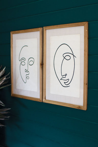 Abstract Framed Face Print - 27-1/2-in