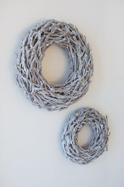 White Wash Driftwood Wreath - 27-in