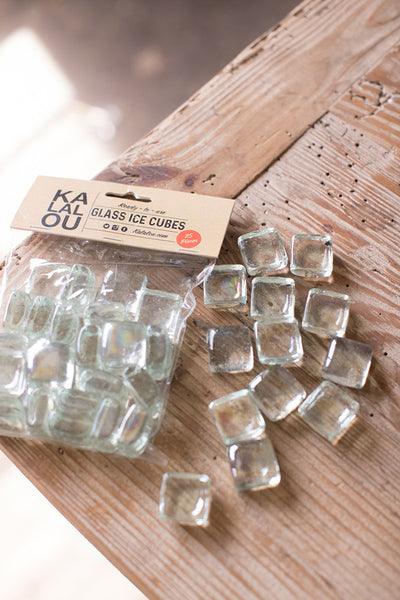 Glass Ice Cubes - 25 Pieces