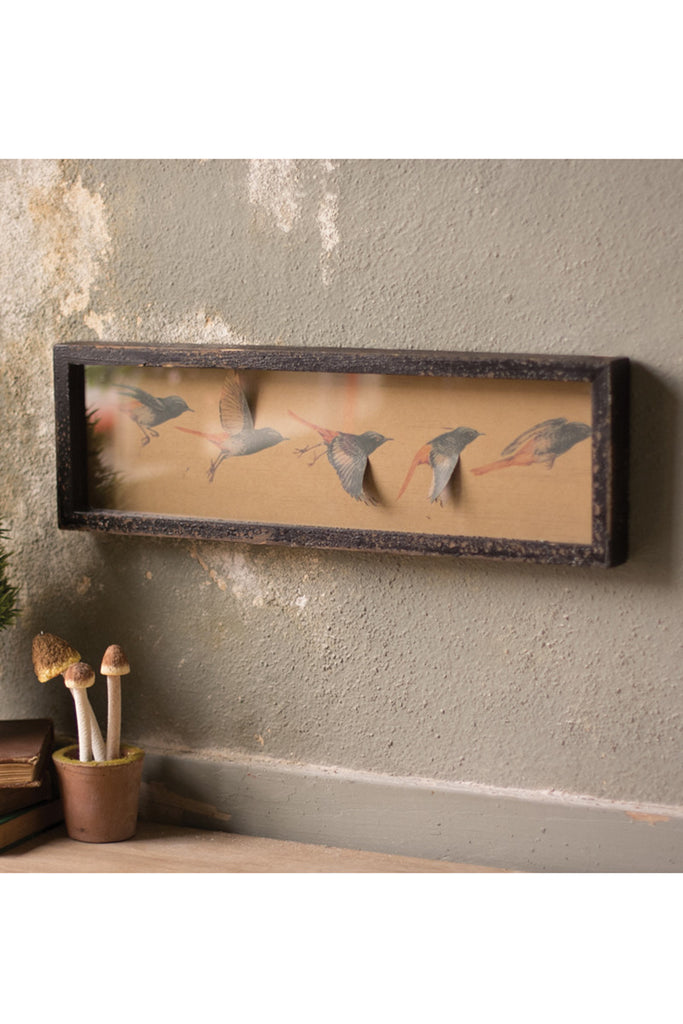 Vintage Framed Paper Flying Birds Under Glass - 20-in