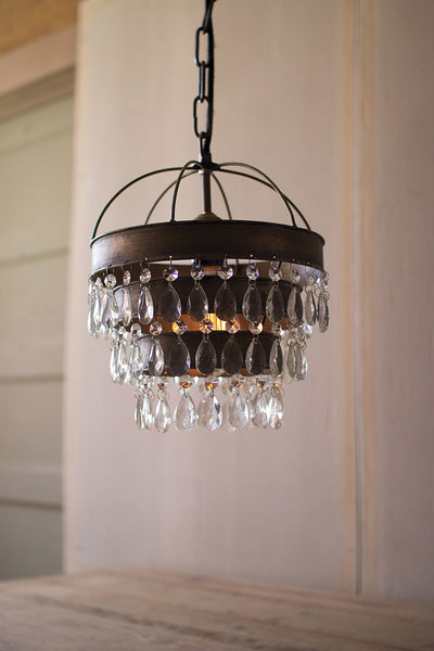 Metal Layered Pendant Lamp with Hanging Clear Glass Gems - 10-in