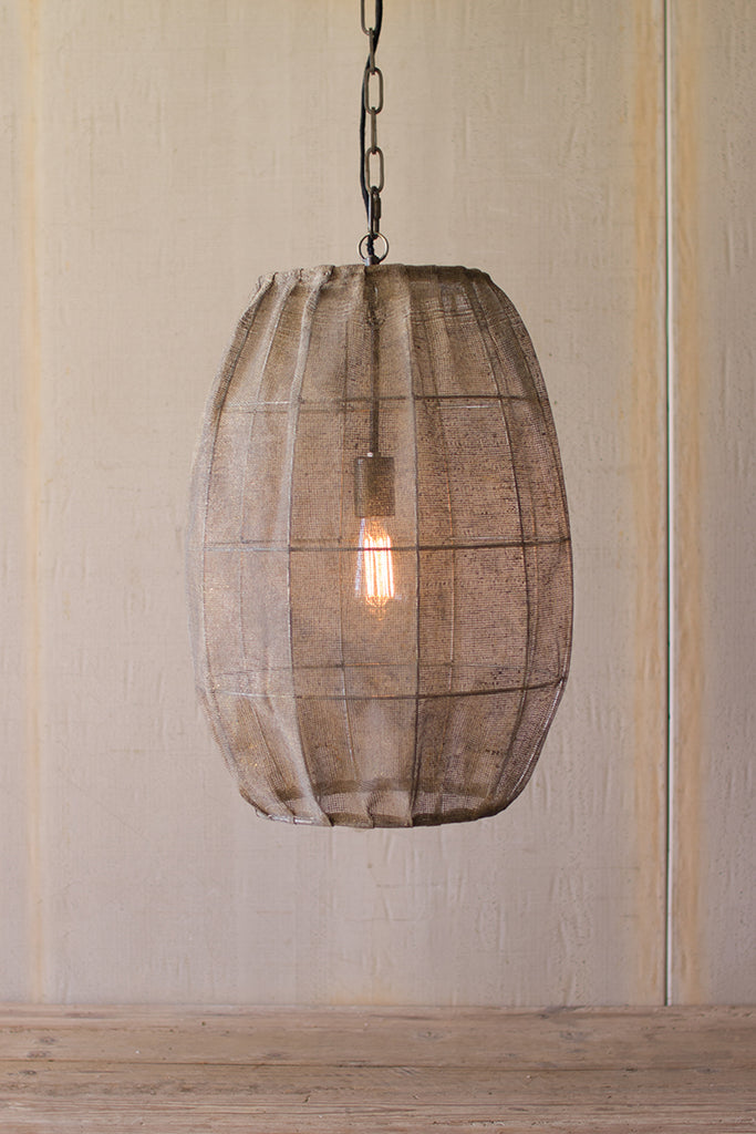 Oval Pendant Lamp with Vintage Mesh Shade | 24-in