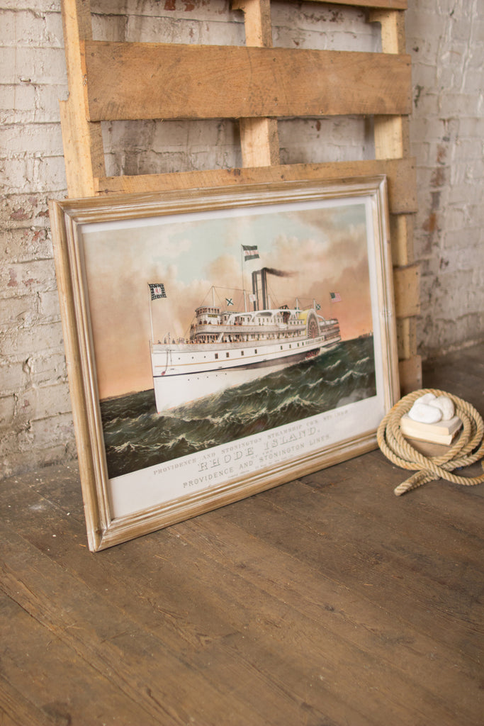 Providence and Stonington Steamship Co's Steamer Rhode Island - Framed 39-in