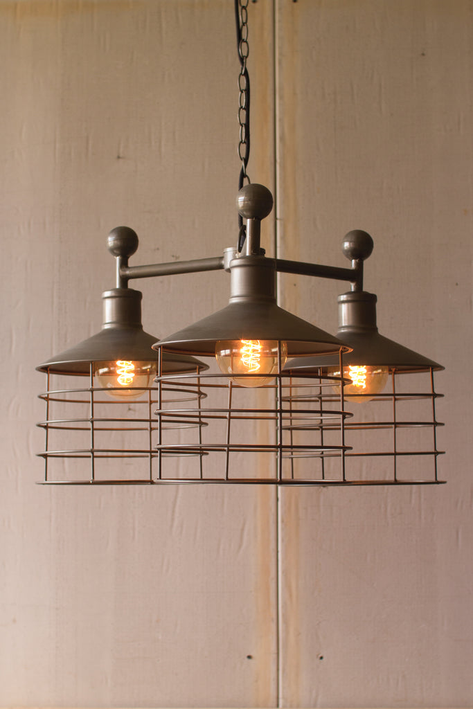 Vintage Triple Metal Caged Pendant Lamp - 24-in