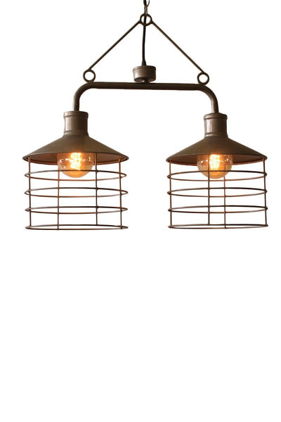 Vintage Double Metal Caged Pendant Lamp - 26-in