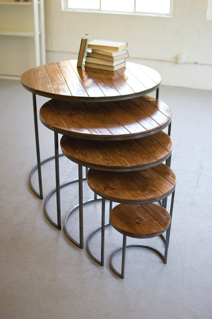 Round Reclaimed Wood and Iron Tables with Laquered Finish
