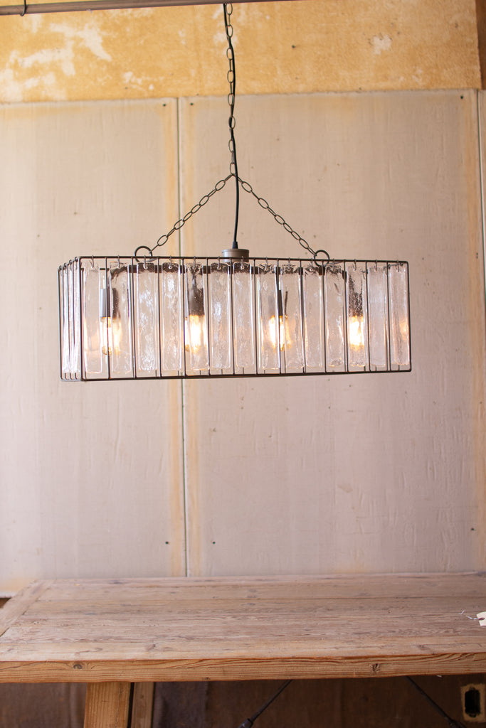 Rectangle Metal Pendant Light with Clear Glass Panels