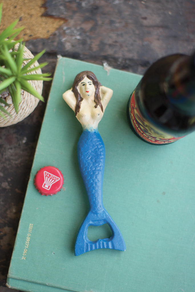 Vintage Painted Cast Iron Mermaid Bottle Opener