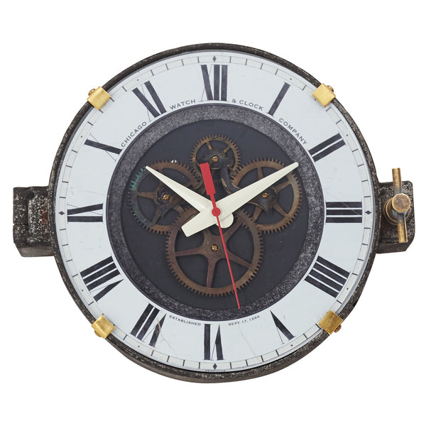 Chicago Factory Wall Clock with Steel Case and Glass Lens - 11-in
