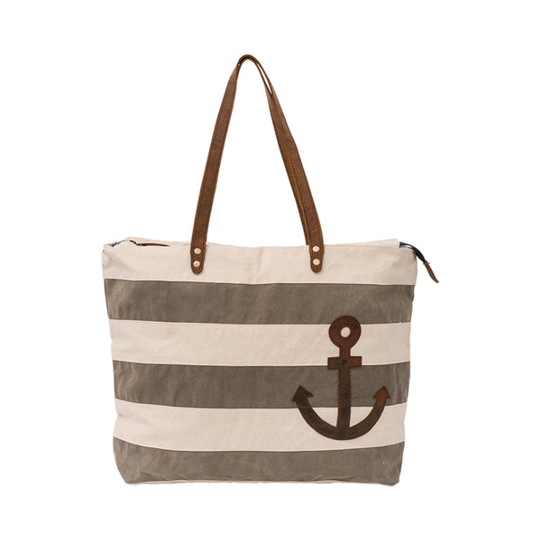 Striped Anchor Canvas Tote Bag with Leather Handles - Khaki - 17-1/2-in