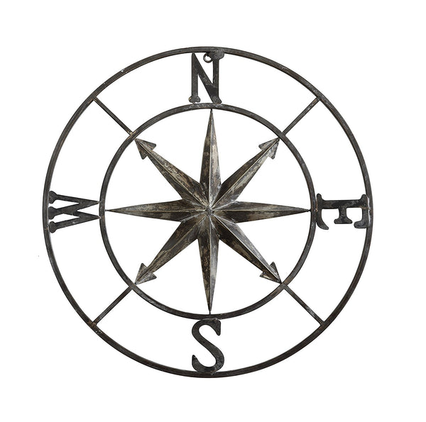 Distressed Metal Rose Compass Wall Decor | 30-in