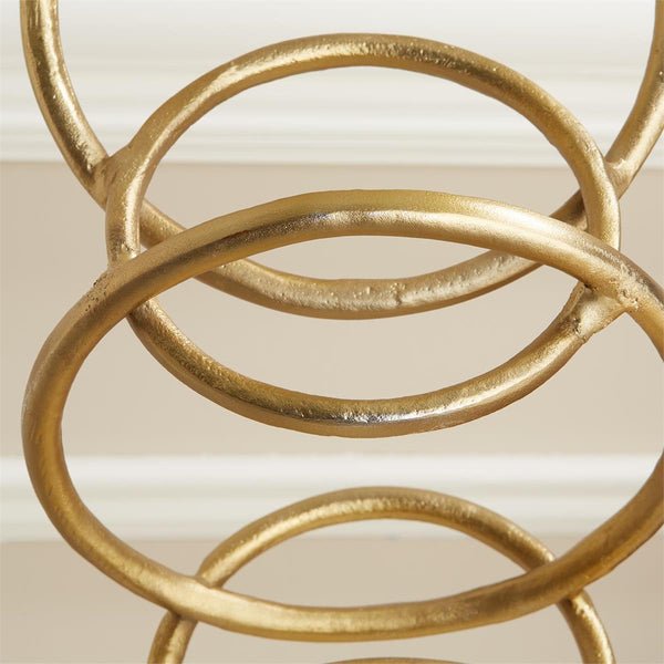 Connection Gold Finish Rings Sculpture on Marble Base - 23-1/2-in