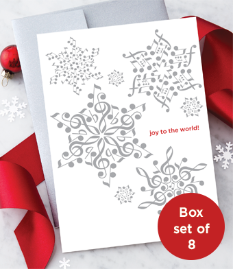 Musical Note Snowflakes - Holiday Greeting Cards - Boxed Set of 8