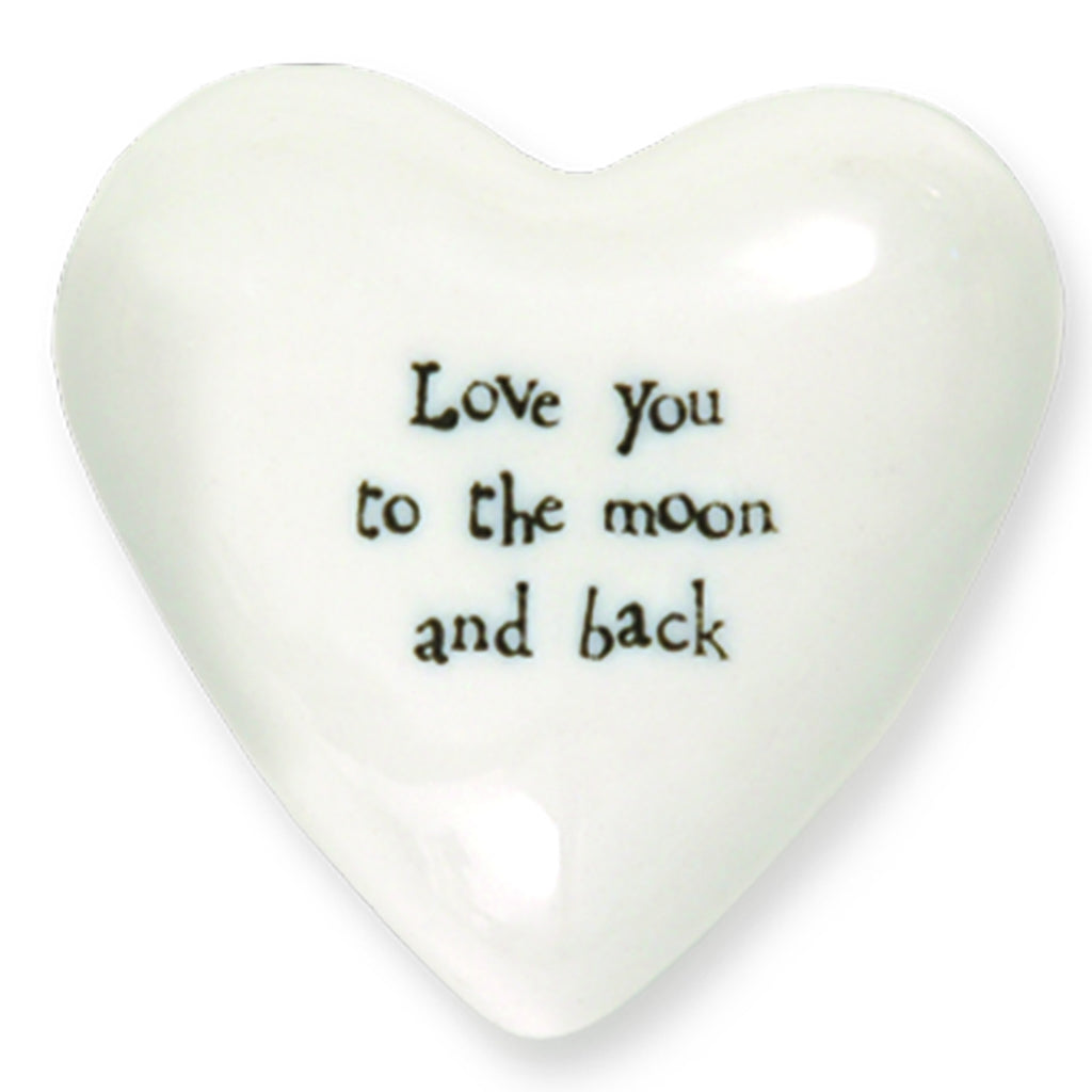 Love You To The Moon And Back - Porcelain Puffer Heart - Mellow Monkey