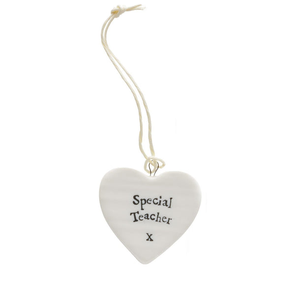 Special Teacher - Porcelain Mini Hanging Heart - 1-3/4-in