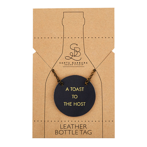 Leather Bottle Tag with Chain - A Toast To The Host