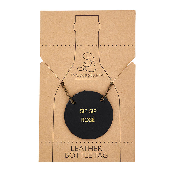 Leather Bottle Tag with Chain - Sip Sip Rose