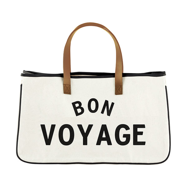 Bon Voyage - Canvas Tote with Leather Handles - 20-in