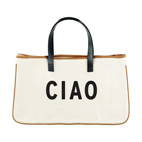 Ciao - Canvas Tote with Leather Handles - 20-in