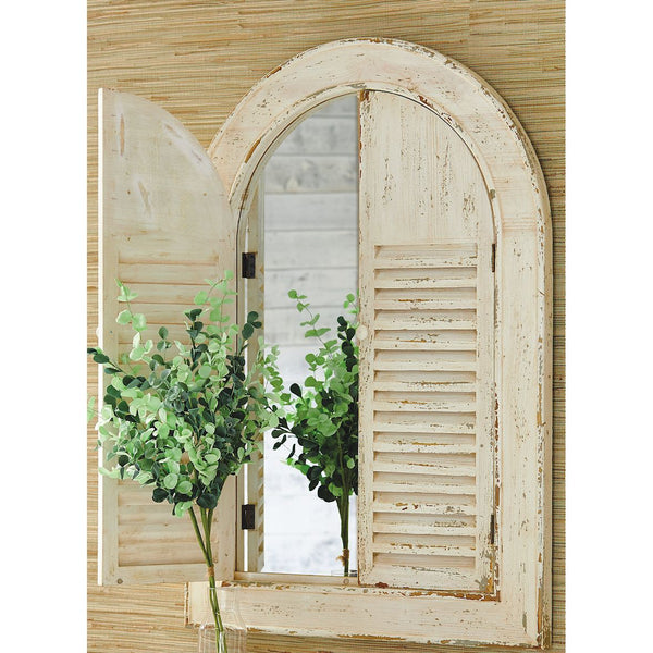 Distressed Arched Shutter Door Mirror - 44-in