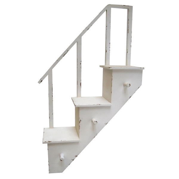 Stairway Wall Shelf with Hooks - Antique White - 30-3/4-in (FINAL SALE)